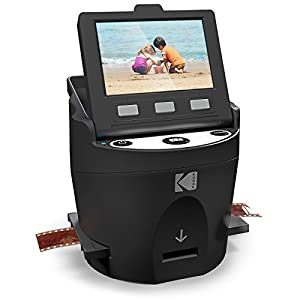 KODAK SCANZA Digital Film & Slide Scanner – Converts 35mm, 126, 110, Super 8 & 8mm Film Negatives & Slides to JPEG – Includes Large Tilt-Up 3.5″ LCD, Easy-Load Film Inserts, Adapters & More