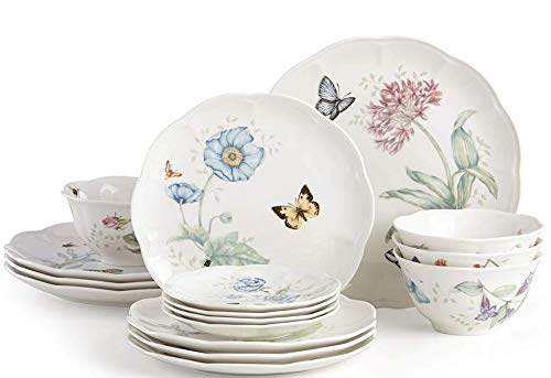 Lenox Classic Butterfly Meadow 16 Pc Dinnerware Set 4 Dinner 4 Salad Accent 4 bowls 4 Party Snack plates Porcelain New…