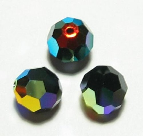 6 pcs Swarovski Crystal 5000 Round Faceted Bead Jet Black