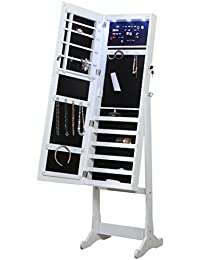 Home Deluxe Floor Standing Jewelry Armoire With Mirror, Free Standing  Contemporary Armoire (White)