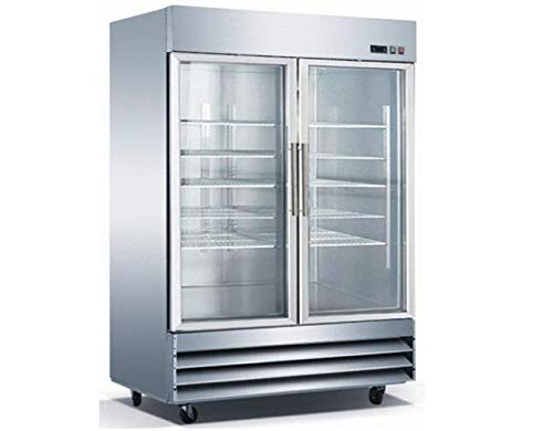 """Amazon.com: 2 Swinging Glass Door Refrigerator – 54"""", LED Lighting Stainless Steel, RICI-54-G by Universal Coolers: Appliances"""