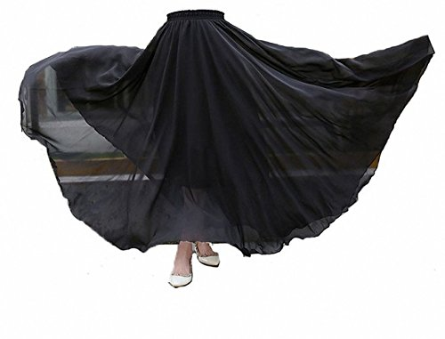 Afibi Mujeres Gasa Retro Largo Maxi Falda Vendimia Vestir Negro