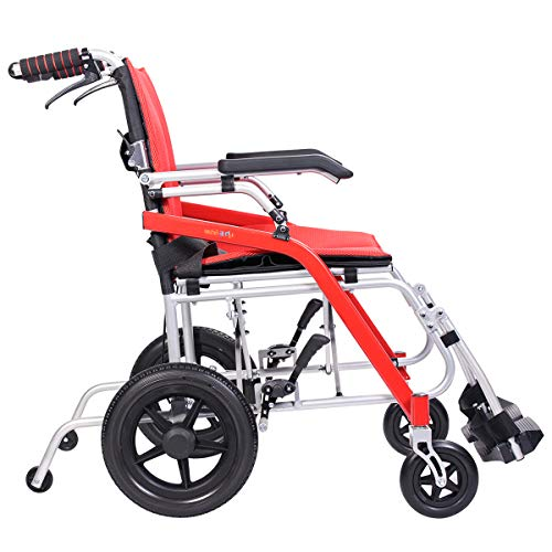 "Wheel Magnesium Rear (Hi-Fortune Wheelchair 21 lbs Lightweight Transport Medical Wheelchair with Adjustable Armrests and Hand Brakes, Portable and Folding, 18"" Seat, Red)"