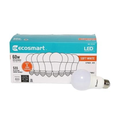 60W Equivalent Soft White A19 Basic Non-Dimmable LED Light Bulb (8-Pack)