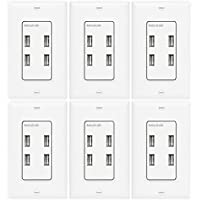 TOPGREENER TU458A-W-6PCS 4-Port USB Outlet, 5V 5.8A, 4 USB Wall Outlet, 4 Port USB Wall Charger, Interchangeable Face Cover, Wall Plate Included, 6-Pack