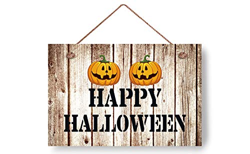 wendana Happy Halloween with Pumpkin Pattern Wood Signs