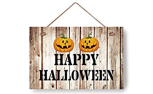 wendana Happy Halloween with Pumpkin Pattern Wood Signs Rustic Front Door Sign Wall Plaque for Home Deocr Yard 8x12 ()