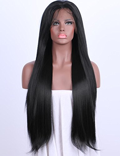 Best Synthetic Lace Front Wigs Women Long Straight Black Wig Glueless With Baby Hair Heat Resistant Fiber Hair Half Hand Tied 24 (Best Synthetic Wigs)