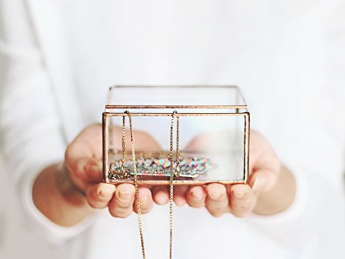 Glass Jewelry Box, Makeup Tray, Girlfriend Gift, Ring Dish, Bedroom Decor, Small Keepsake Box, Rose Gold Home Decor, Copper Jewelry Storage by Waen
