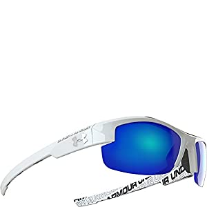 """Under Armour Nitro L """"Youth Large"""", Deeper Lens Cut, Shiny White with Repeating UA Wordmark (Interior) Frame, with Charcoal Rubber, and Gray with Blue Multiflection Lens"""