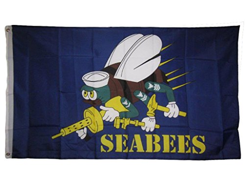 ALBATROS 3 ft x 5 ft Seabees Sea Bees Blue Navy Flag Banner Brass Grommets (RAM) for Home and Parades, Official Party, All Weather Indoors Outdoors ()