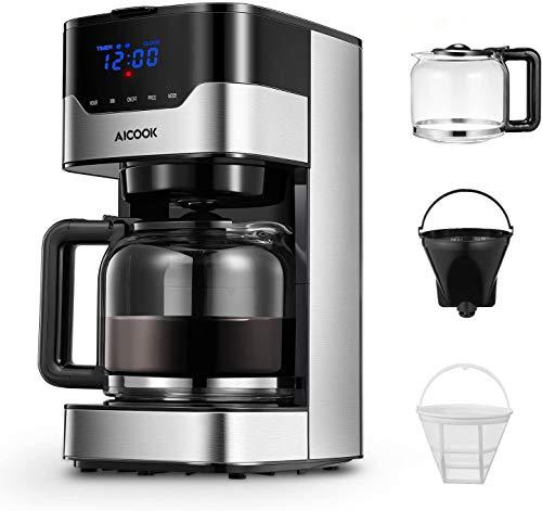 Cafetera Aicook Cafetera Goteo para 12 Tazascon con Temporizador Programable, Máquina de Café con Pantalla Táctil…
