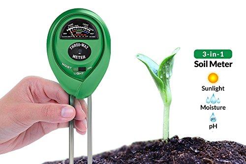 Dodoshop 3-in-1 Soil pH Meter Moisture Meter Light Test Kit Great for Garden,Lawn,Farm,Plants, Gardening Tools, Indoor Outdoors Plant Care Soil Tester (No Battery Needed)