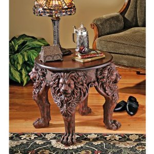 "21"" Medieval Gothic Antique Replica Occasional Side Table"