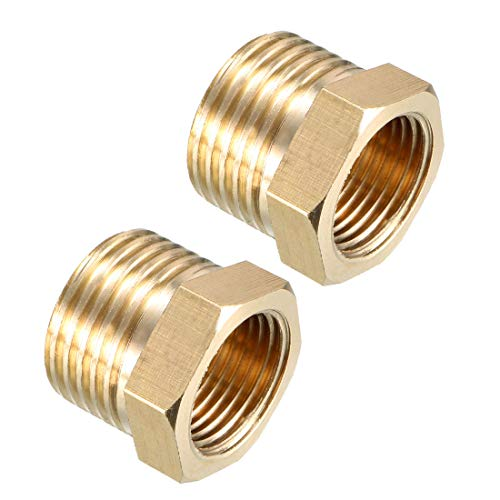 uxcell Brass Threaded Pipe Fitting 1/2 PT Male x 3/8 PT Female Hex Bushing Adapter 2pcs ()