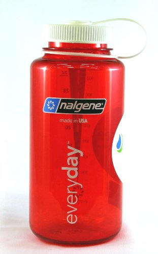 BPAFreeBottle (TM) NALGENE Tritan Wide Mouth 32oz BPA-Free Water Bottle - Red w/ White Cap