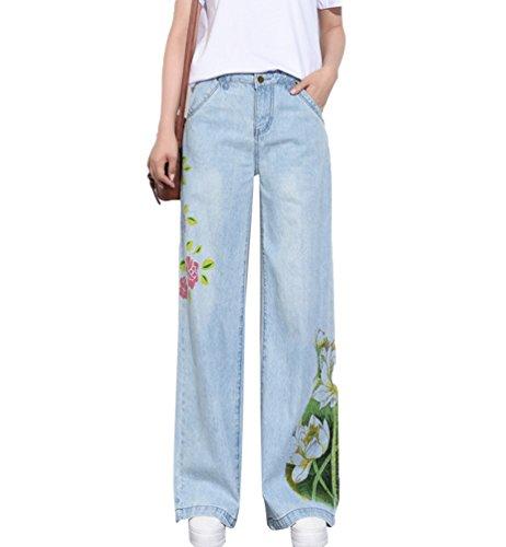 Lunghi Larga Stampa Gamba Allungamento Jeans Pantalone Pantaloni Senza Casuale Blu Bootcut Donna Flared Denim Tookang 0TFqYIq
