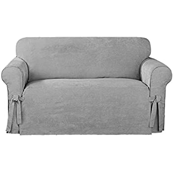 Elegant Chezmoi Collection Soft Micro Suede Solid Gray Sofa/Couch Cover Slipcover  With Elastic Band Under