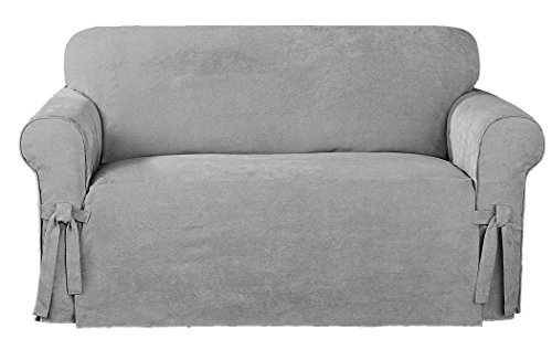 Chezmoi Collection Soft Micro Suede Solid Gray Sofa/Couch Cover Slipcover with Elastic Band Under Seat Cushion (Sofa)