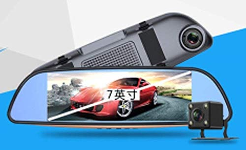 Mirror Dash Cam, CT-CARID Dual Dashboard Camera Recorder 7""