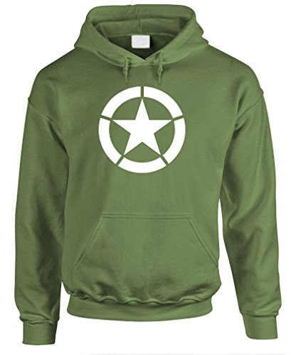 BROKEN STAR - jeep army fighting america Pullover Hoodie, M, Army