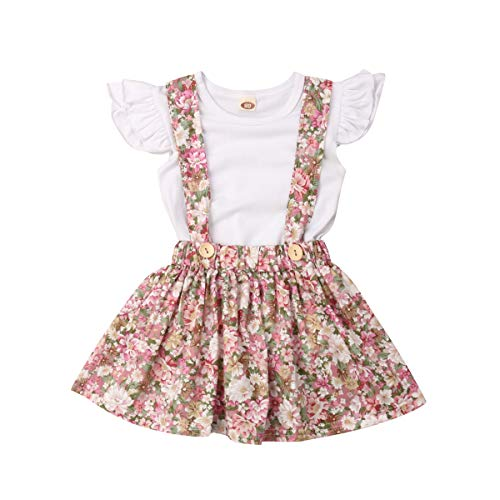 Toddler Baby Girls Clothes Set Ruffle Short Sleeve T-Shirt Tops+ Floral Overall Skirt (White, 12-18m)