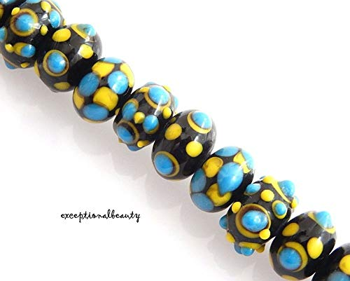 20 Assorted Black Tuquoise Yellow Lampwork Round Rondelle Art Glass Mix Beads