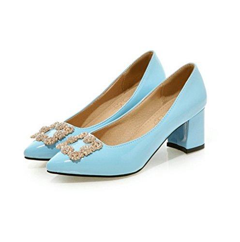 VogueZone009 Damen Eingelegt PU Leder Mittler Absatz Spitz Zehe Ziehen auf Pumps Schuhe Blau