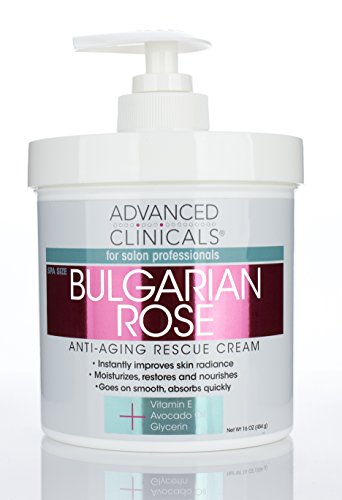 417vc495QmL - Advanced Clinicals Bulgarian Rose Oil Cream Anti-Aging Rescue for Face, Hands, Neck. Spa Size 16oz (16oz)