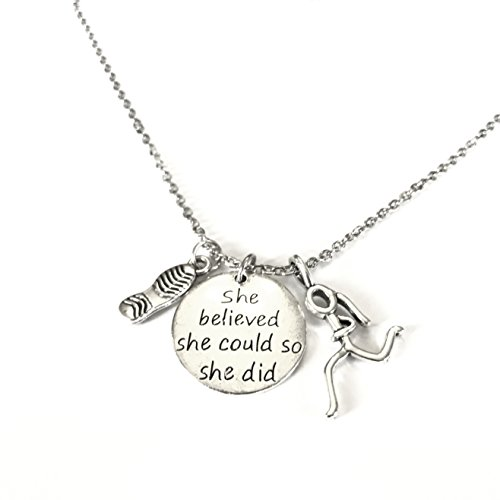 Running Necklace with Titanium Chain by Lolly Llama - Perfect Runners Necklaces Makes the Perfect Gift (Stainless Runner)