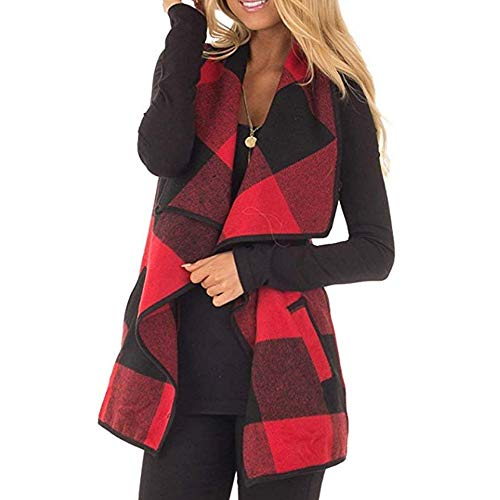 (CUCUHAM Womens Vest Plaid Sleeveless Lapel Open Front Cardigan Sherpa Jacket Pockets Winter(Y2-Red,Medium))