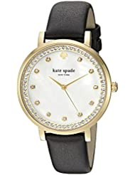 kate spade new york Womens Monterey Quartz Stainless Steel and Leather Casual Watch, Color:Black (Model: KSW1206)