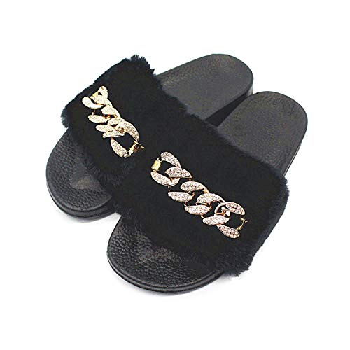 Women Fur Slippers Rhinestone Chain Fluffy Autumn Slippers Flat Slip On Warm Flip Flops,Black,9.5