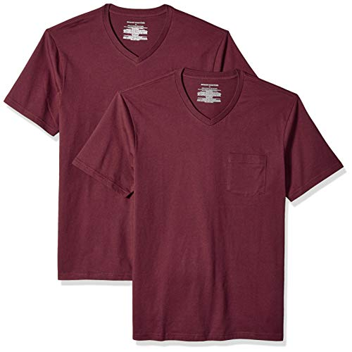 Amazon Essentials Men's 2-Pack Slim-Fit V-Neck Pocket T-Shirt, Burgundy, Medium ()
