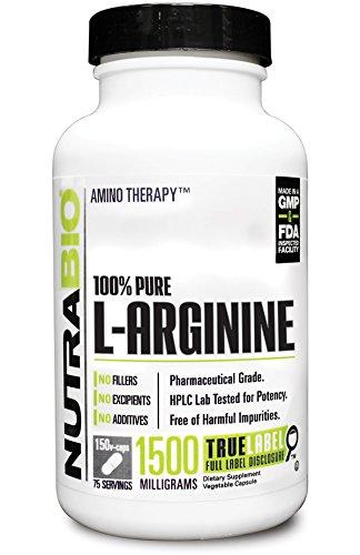 NutraBio 100% Pure L-Arginine  - 150 Vegetable Capsules