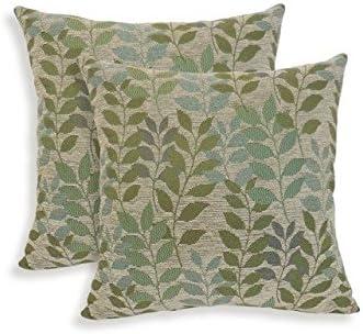 ESSENTIALS 19-63222LRK Fabian Chenille Leaf Toss Pillow44 Lark – Set of 2