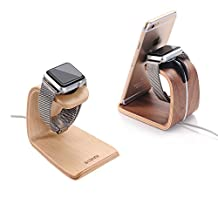 Original Samdi Wood Dual Dock Holder Stand Charge Station for Apple Watch iwatch iPhone6 iphone 6 plus iphone5s ,Fit Apple Watch, Apple Watch Sport and Apple Watch Edition (Birch)