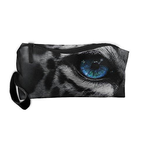 Cosmetic Bags Brush Pouch Makeup Bag Snow Leopard Eyes Zipper Wallet Hangbag Pen Organizer Carry Case Wristlet -
