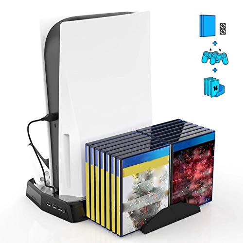 Vertical Stand Compatible with PS5 Console with Cooling Fan, Wireless Controllers Charging Station Dock Dual Charger Ports 3 USB HUB for Playstation 5 PS5, Include LED Indicator&14 Games Storage