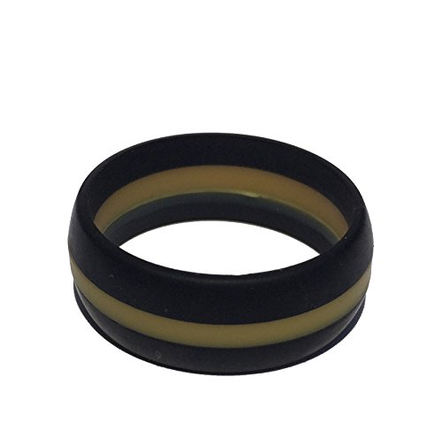 Tough Love Rings - STRIPED BLACK/GOLD - Thick Band - Size 11