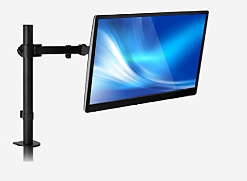 Mount-It! Monitor Arm Single LCD Monitor Desk Mount Stand Fully Adjustable Fits 20 21 23 24 27 30 32 Screens Height Adjustable Tilt Swivel Rotate, Clamp and Grommet Base