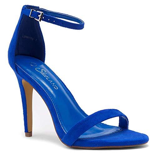 Shoe Land SL-Lovering Women's Ankle Strap, Open Toe and Stiletto Heel RoyalBlue 11.0