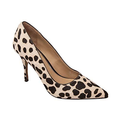 (Linea Paolo Payton | Mid Height Stiletto Heel Pointy Toe Comfortable Pump White/Black Leopard Print Hair Calf 8M)