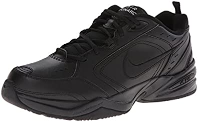 Nike Air Monarch IV Mens Black Leather Walking Shoes Size
