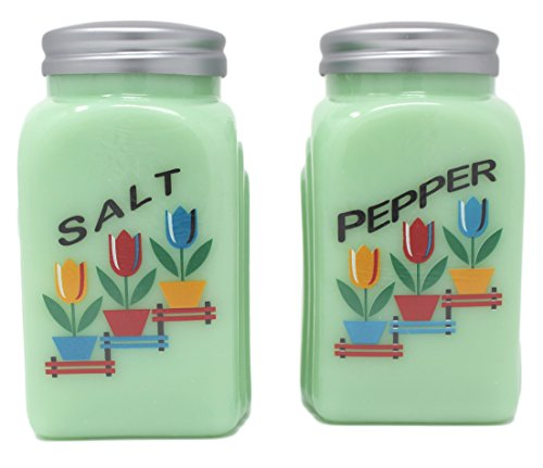 uction Vintage Style Roman Arch Salt and Pepper Set (Tulips - Jadeite) (Green Glass Salt)