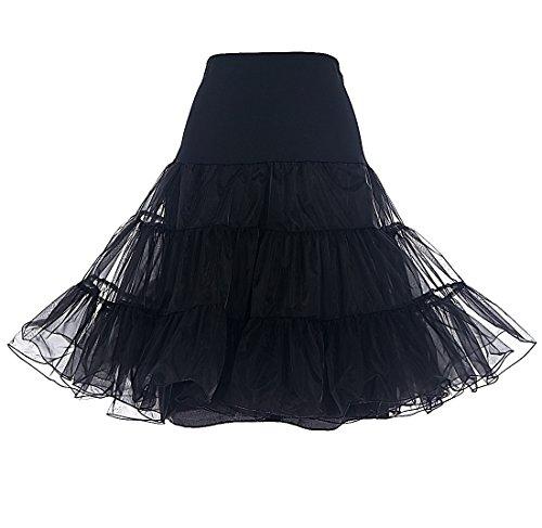 Dresstells Women's Vintage Rockabilly Petticoat Skirt Tutu 1950s Underskirt black S
