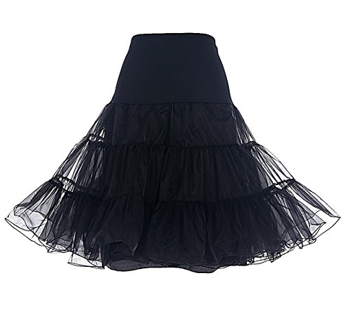 DRESSTELLS Women's Vintage Rockabilly Petticoat Skirt Tutu 1950s Underskirt Black - Fashion Women 1950