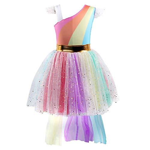 FYMNSI Unicorn Halloween Rainbow Birthday Princess Party Hi-Low Dress Pride Tulle Cosplay Dress UP Fancy Costume 7-8 Years -