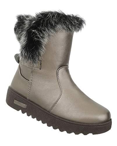 Wedges Leder 41 Optik Grau Winterstiefel Stiefeletten Fell Kunst Boots Damen Stiefel Silber Booties 36 Keilabsatz Schuhe qOPt6wnIx4