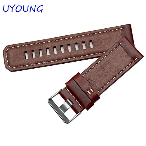 Jewh Brown Leather Wristband - Quality Genuine Leather Watch Band with Tools for Garmin Fenix 3